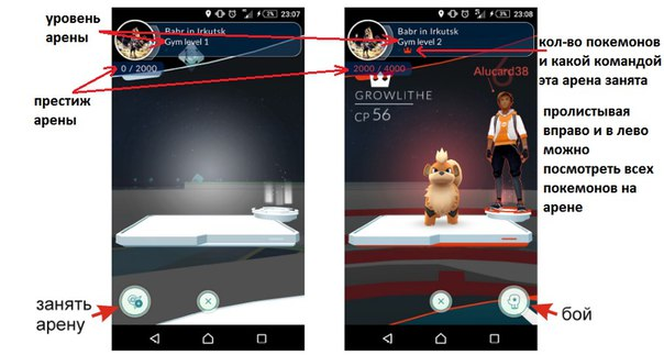 Арена в игре Pokemon go
